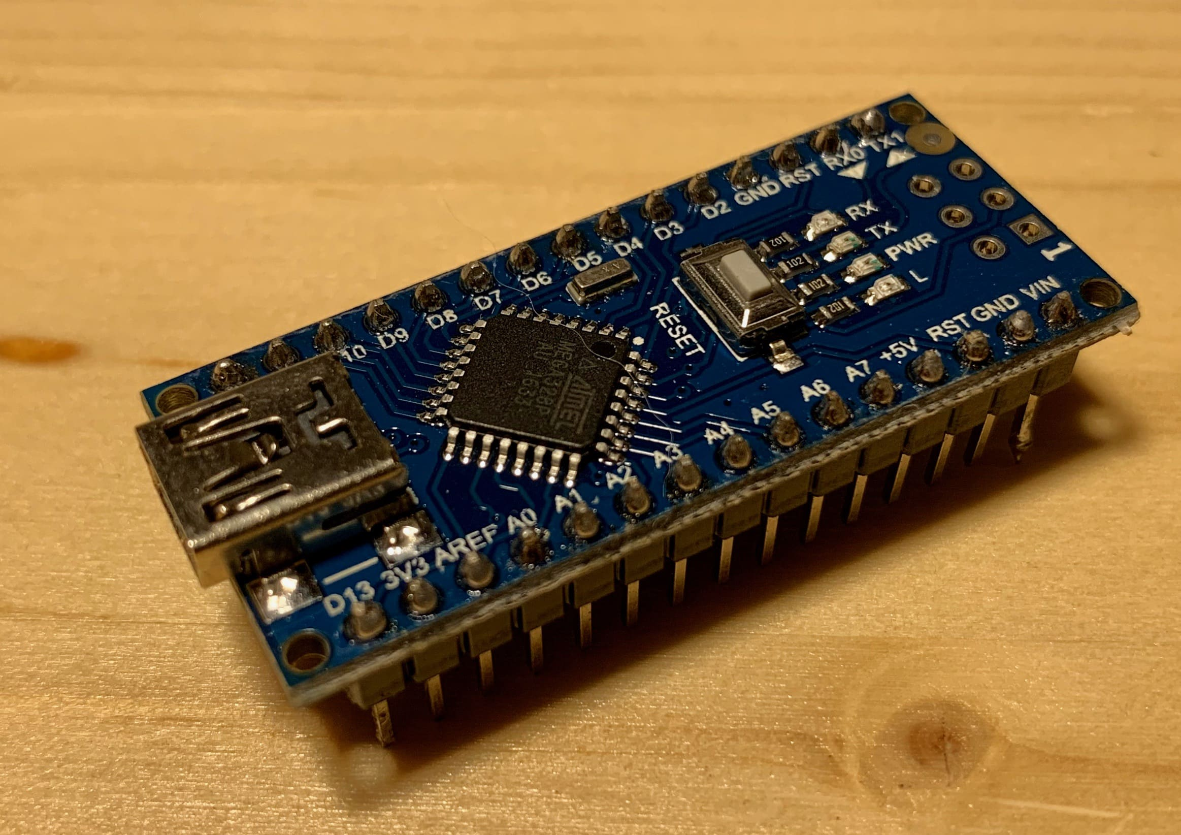 Arduino Nano with pins attached
